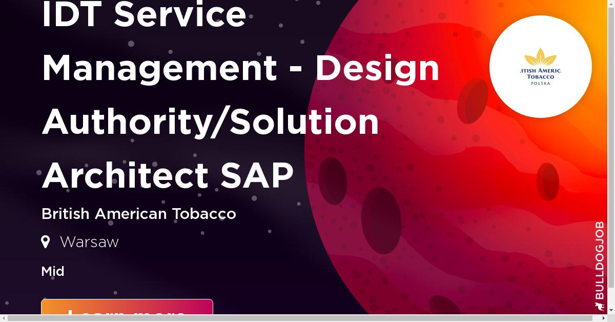 IDT Service Management - Design Authority/Solution Architect